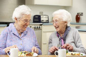 Senior women enjoying meal together at home — Stok fotoğraf