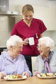 äldre kvinnor med vårdare njuter måltid hemma — Stockfoto
