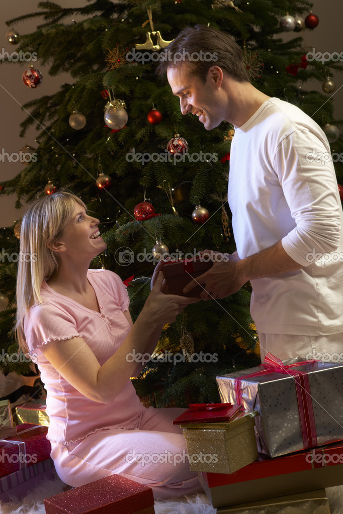 Couple Exchanging Presents In Front Of Tree  Stock Photo #11880822