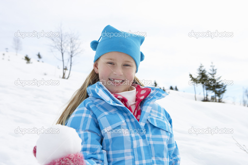 7 Year Old Girl On Winter Vacation — Stock Photo #11882614