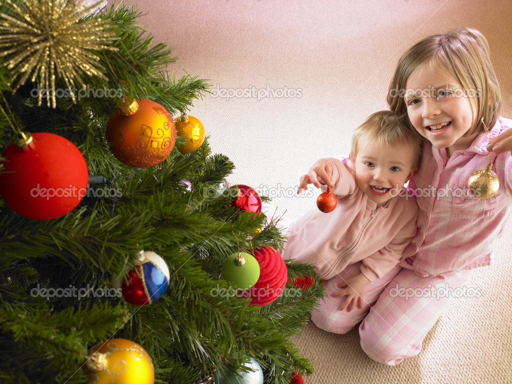 Children with Christmas tree  Foto Stock #11884958