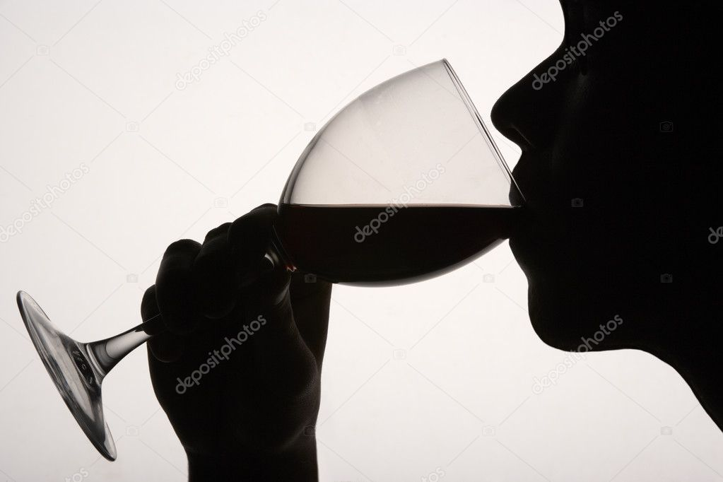 Drinking Wine Silhouette Silhouette Man Drinking Red