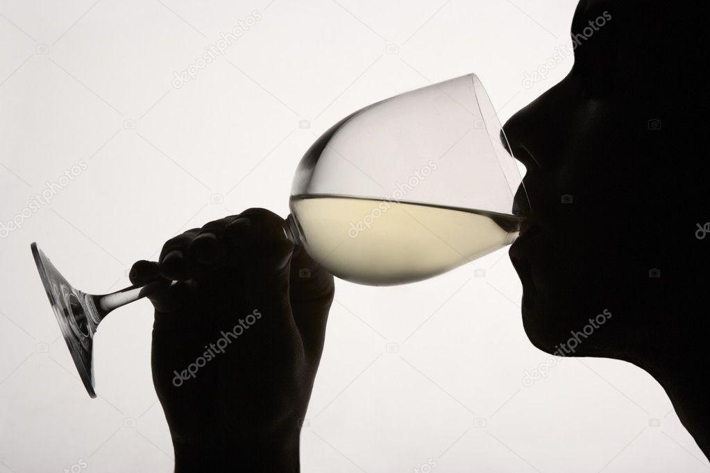Drinking Wine Silhouette Silhouette Man Drinking Wine