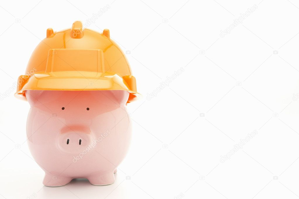 Piggybank with hard hat — Stock Photo #11887064