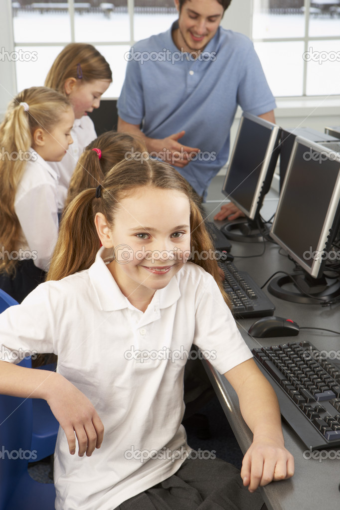 Girl in school class smiling to camera  Stock Photo #11889426