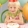 Young girl with birthday cake at party — Stock Photo #11890325