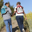 Senior  couple on country hike - Stockfoto