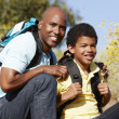 Father and son on country hike — Stock Photo