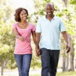 Young couple walking in park — Stock Photo #11890464