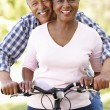 Senior couple cycling in park — Stock Photo #11890484