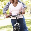 Senior couple cycling in park — Stock Photo #11890489