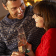 Middle Aged Couple Sitting Sofa By Cosy Log Fire With Glass Of C — Stock Photo