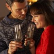Stock Photo: Middle Aged Couple Sitting Sofa By Cosy Log Fire With Glass Of C
