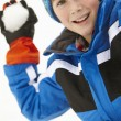 Young Boy About To Throw Snowball Wearing Woolly Hat — Stock Photo