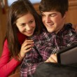 Teenage Couple Relaxing On Sofa With Laptop - Foto Stock