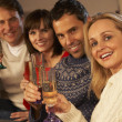 Group Of Middle Aged Couples Sitting On SofWith Champagne — Stock Photo #11891618