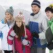 Family On Ski Holiday In Mountains — Stock Photo