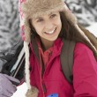 Teenage Girl On Ski Holiday In Mountains — Stock Photo