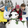 Group Of Friends Building Snowman On Ski Holiday In Mountains — Stock Photo #11891960