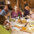 Stock Photo: Two Familes Enjoying Meal In Alpine Chalet Together