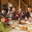 Two Familes Enjoying Meal In Alpine Chalet Together — Stock Photo #11892036