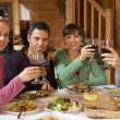 Group Of Friends Enjoying Meal In Alpine Chalet Together — Stock Photo #11892064