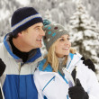 Stock Photo: Middle Aged Couple On Ski Holiday In Mountains