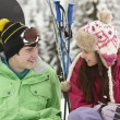 Two Teenagers On Ski Holiday In Mountains — Foto de Stock