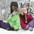 Two Teenagers On Ski Holiday In Mountains — Stock Photo #11892275