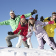 Teenage Family On Ski Holiday In Mountains — Stock Photo #11892458