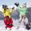 Teenage Family Having Snow Fight In Mountains — Stock Photo #11892468