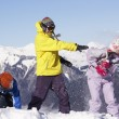 Teenage Family Having Snow Fight In Mountains — Stock Photo #11892471
