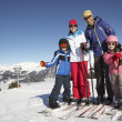 Family On Ski Holiday In Mountains — Stockfoto