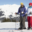 Couple Having Fun On Ski Holiday In Mountains — Stock Photo