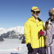 Two Teenagers On Ski Holiday In Mountains — Lizenzfreies Foto