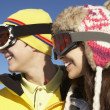 Two Teenagers On Ski Holiday In Mountains - Foto Stock