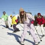 Teenage Family On Ski Holiday In Mountains — Stock Photo #11892620