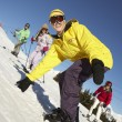 Teenage Family On Ski Holiday In Mountains — Stock Photo