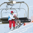 Mother And Daughter Getting Off chair Lift On Ski Holiday In Mou — Stock Photo #11892663