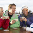 Group Of Friends Enjoying Hot Drink In Café At Ski Resort - Lizenzfreies Foto