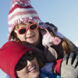 Mother And Daughter Having Fun On Ski Holiday In Mountains — Stock Photo