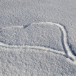 Heart Drawn In Fresh Snow - Zdjęcie stockowe