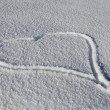 Heart Drawn In Fresh Snow - Stockfoto