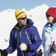 Stock Photo: Couple Having Fun On Ski Holiday In Mountains