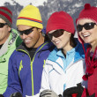 Group Of Middle Aged Couples On Ski Holiday In Mountains — Stock Photo #11893061