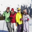 Teenage Family On Ski Holiday In Mountains — Stock Photo #11893088