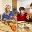 Teenage Family Having Argument Whilst Eating Lunch Together In K — Stock Photo #11893342