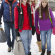 Royalty-Free Stock Photo: Teenage Family Carrying Shopping Walking Along Snowy Street