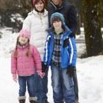 Family Walking Along Snowy Street In Ski Resort — Stock Photo #11893488