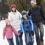 Family Walking Along Snowy Street In Ski Resort — Stock Photo #11893493